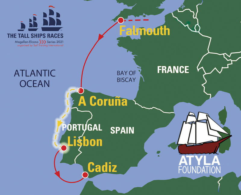 Sailing Trip Map Destinations A Coruña Coruna Lisbon Portugal Spain Tall Ships Races 2021 Magellan Elcano Series 500 Atlantic Regatta Adventure Book Voyage Sail Training Soft Skills Atyla