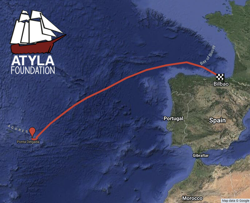 Sailing trip map destinations Azores islands Portugal Sao Miguel Bilbao Cantabria Spain Biscay Bay Basque Country adventure personal development book voyage discount online tall ship Atyla