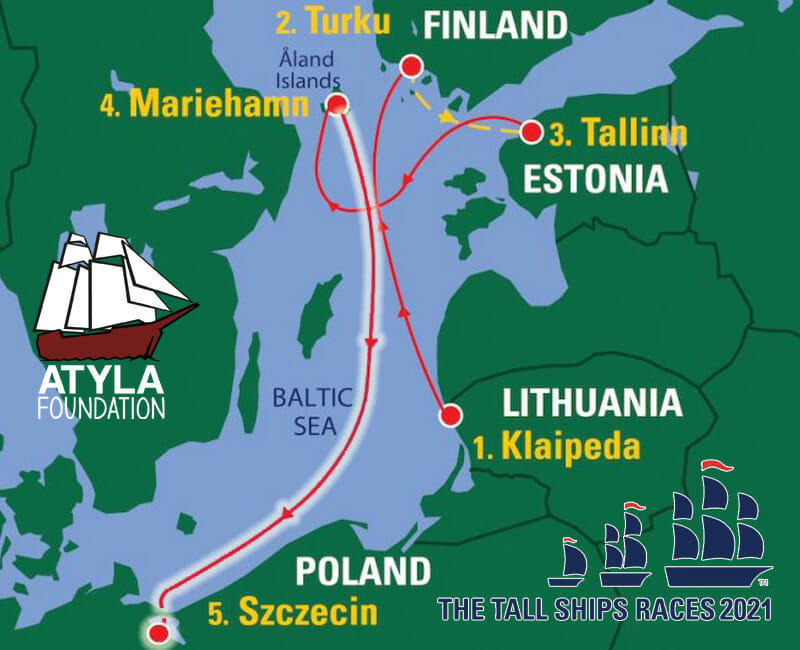 Sailing trip map destinations Mariehamn Szczecin Tall ships races  baltic regatta adventure personal development book voyage sail training life skills tall ship Atyla